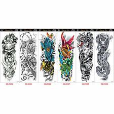 NEW Extra Large Temporary Tattoos Long Full Arm Skull Flower Tattoo Stickers