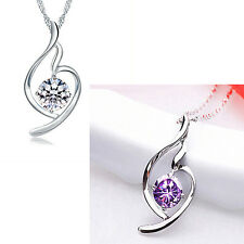 925 Sterling Silver Clear White/Purple Crystal Curved Open Heart Pendant Jewelry