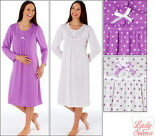 Womens/Ladies Nightwear/Sleepwear Kathy Polka Dot Long Sleeve Round Neck Nightdr