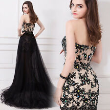 Detachable Train Evening Dresses Lace Formal Cocktail  Prom Gowns Strapless 2017