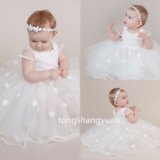 New Baby Summer Baptism Outfit Dress Lace Christening Ball Gown Cap Sleeve Tulle