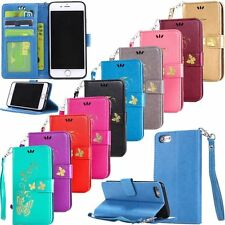HOT Gilding Butterfly Flip Leather Wallet Card Stand Case Cover For Apple iPhone