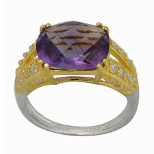 De Buman Sterling Silver Amethyst and Cubic Zirconia Ring