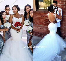 2017 Mermaid Wedding Dress White Ivory Summer Bridal Gowns Tulle Custom Size Sex