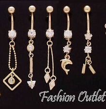 14K Gold Plated CZ Chain- Arrow-Bars- Belly Button Ring Navel Dangle 14G-3/8