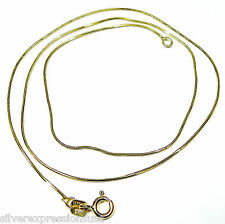 18K Gold Plated 925 Sterling Silver Italy Snake Chain Necklace 16""