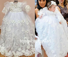 New Baptism Ball Gowns Flower White Ivory Christening Dresses Custom Half Sleeve