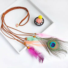 New Women Adjustable Feather Pendant Necklack Festival Party Headband Accessorie