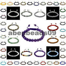 Natural 8mm Bracelets Healing Power Crystal Macrame Adjustable 7-9 Inch