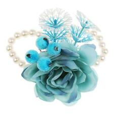 Prom Corsage Wrist Flowers Boutonniere Bridal White Pearl Stretchy Bracelet