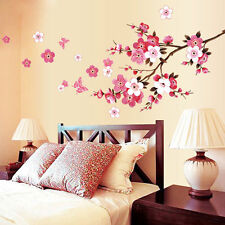 Blossom Peach Flower Butterfly Room Wall Sticker Removable Vinyl Decal Decor