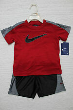 NEW BOYS NIKE EVERYDAY 2 PIECE SET SHIRT & SHORTS OUTFIT NWT $40 RED BLACK GRAY