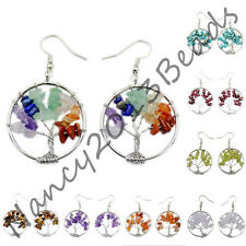 30mm Silver Tree Of Life Wire Wrap Crystal Quartz Chip Bead Hook Earrings Bead
