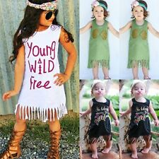 Toddler Baby Girls Summer Casual Tassel Dress Pageant Party Dresses Kids Clothes
