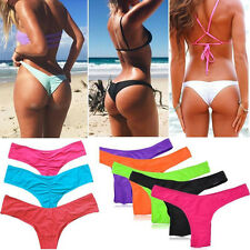 Brazilian Women Bikini Bottom Cheeky Scrunch Ruched V Thong Swimsuit Swimwear FO