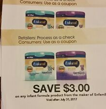 Enfamil coupons 2 $3 on any formula exp. 7/31/17