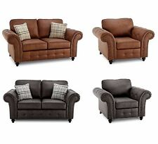 Faux Leather 2 Seater Sofa Armchair Set Seat Chair Black Brown Furniture Couch
