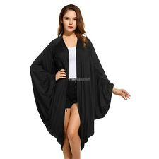 New Women Casual Long Batwing Sleeve Collarless Solid Pleated Cardigan RLWH01