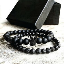 2pcs Men Woman Bead Bracelet Crown Charm Bangle Natural Beads Buddha Bracelet