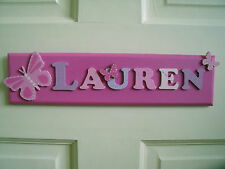 CHILDRENS WOODEN NAME PLAQUE hand painted personalised door/wall sign 8 LETTERS