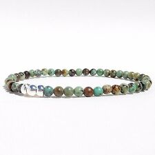 African Turquoise Bracelet 4mm 6mm 8mm Bead Stretch Sterling Silver Custom Fit