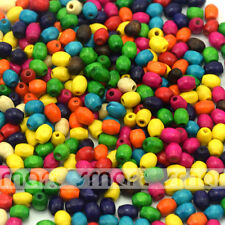 100/500pcs Mixed Color Barrel Shape Wood Loose Beads 5x6mm