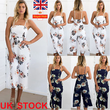 Womens Sleeveless Floral Print Clubwear Playsuit Party Jumpsuit Romper Trousers