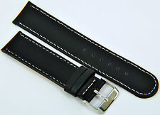 Wristwatch Strap Leather Black Smooth with white seam 12-20mm Watch Strap