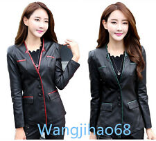 Womens Suit Leather Jackets Black Casual Slim Fit Ladies Fashion Blazers coats