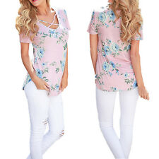 Summer T-Shirts Short Sleeve Women Floral Casual New V-Neck Printed
