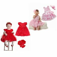 Infant Baby Girl Birthday Pageant Party Princess Lace Tutu Flower Dress Headband