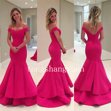 Mermaid Off Shoulder Long Formal Prom Party Gown Custom Evening Bridesmaid Dress