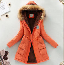 YI Fur Hooded Womens Parka Thicken Winter Warm Vogue Coat Jacket Comfy Outerwear