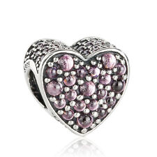 authentic 925 Sterling Silver Pink Dazzling Heart Charm Beads Pave CZ Bead