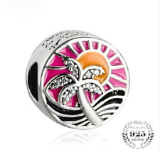 authentic 925 Sterling Silver Charms Multicolor Enamel Tropical Charm Beads