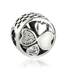 authentic 925 Sterling Silver Heart Pendant Bead clear cz genuine charm Beads