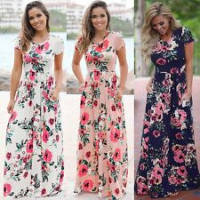 Vogue Summer Short Sleeve Sundress Floral Print Beach Party Long Maxi Dress