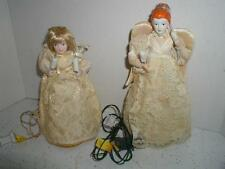 Lighted Vintage Angels Tree Topper Fabric Lace Christmas Holiday Lights Electric