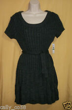 Jessica Simpson womens charcoal gray short sweater dress belt cable knit top $79