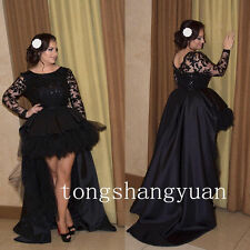 Hi-Low Mother of Bride Groom dresses Wedding Lace Prom evening formal Gown Black