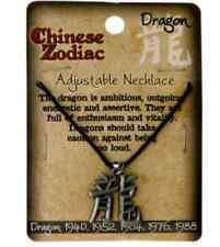 Chinese Astrology Zodiac Necklace Pewter Pendant W/Adjustable Waxed Cotton Cord