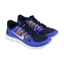 Nike Free 5.0+ Mens Blue Synthetic Athletic Lace Up Running Shoes