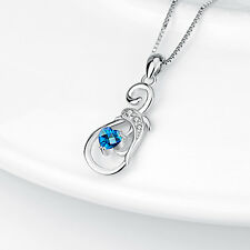 Women Silver Chain Dolphin Blue Heart CZ Pendant 925 Sterling Silver Necklace
