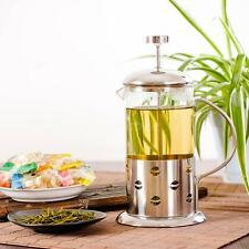 French Press Coffee Maker Leaf Tea Carafe Stainless Steel Filter Kettle Pot P6G0