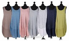 New Ladies Italian Polka Dot Sleeveless Cotton Dress Women Summer Dress PlusSize