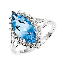 925 Sterling Silver Blue Topaz and Diamond Solitaire Marquise Ring - 2.799cttw