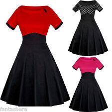 Vintage Style Retro 50'S Swing Pinup Cocktail Evening Party Prom Dress Plus Size