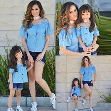 Family Clothes Mother Daughter Outfits Set Womens Girls T-shirt Tops+Denim Pants