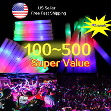 300~500 Pcs Light-Up Glow Sticks Flashing LED Foam Sticks Baton For Rave Party