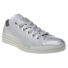 New Womens Converse Metallic Grey All Star Ox Synthetic Trainers Canvas Lace Up